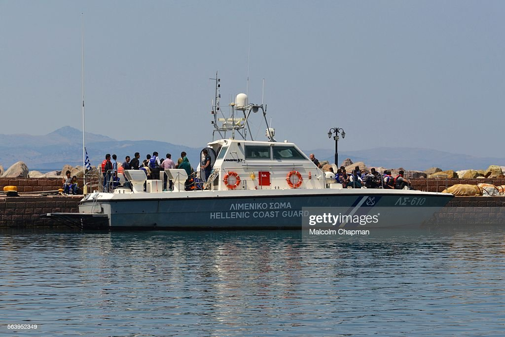 Refugees picked up by Greek Coastguard, Lesvos : News Photo