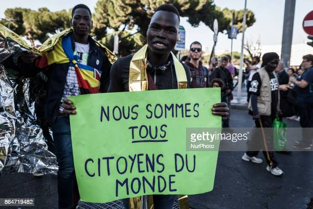 Refugees and asylum seekers march downtown during the 'Non reato' national demonstration to protest against racism and to ask justice and equality in...