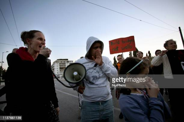 Refugees and greeks participate in a demonstration in Athens Greece on April 16 2019 asking for funds for accommodation and economic support to...