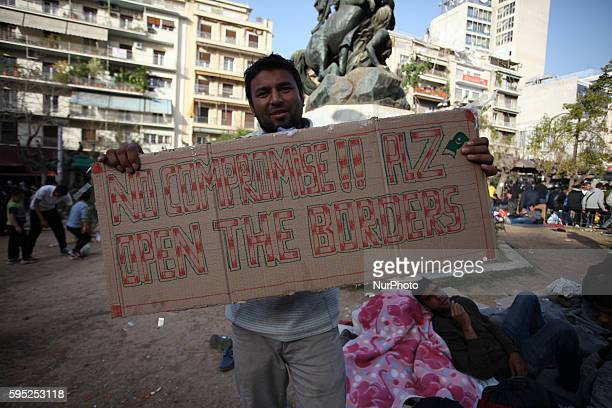 Refugees and Migrants find shelter at Victoria square in Athens city center, on Mar. 1, 2016