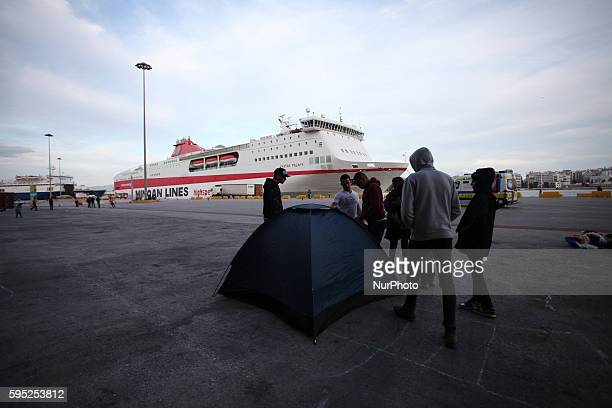 Refugees and migrants stranded at the port of Piraeus Athens Greece on Mar 3 2016