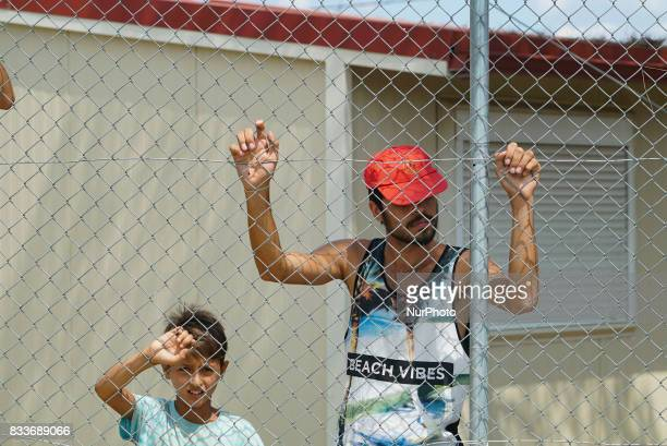 Refugees are protesting in Diavata Camp in Thessaloniki Greece on August 17 2017 They blocked the entrance and rushed out all the government and ngo...
