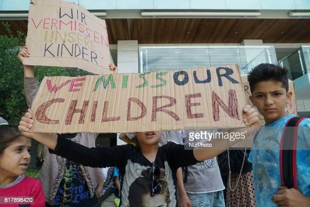 Refugees are protesting in front of the German Consulate in Thessaloniki Greece on July 18 2017 as the Family Reunification Visa Applications are...