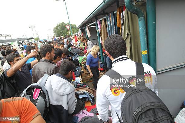 Refugees are seen as they arrived at Nickelsdorf Austria on September 05 2015 after they crossed Hunagry Austria border A record 100000 refugees...
