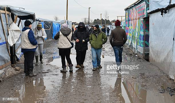 """Refugees are seen at the camp known as the """"Wild Jungle"""" on February 23, 2015 in Calais, France as evacuation deadline comes close to an end. French..."""