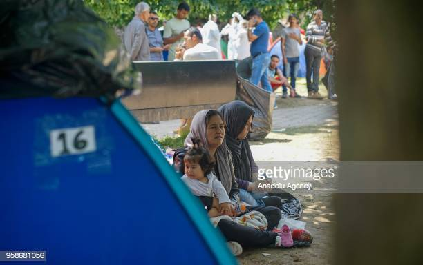 Refugees are seen near tents at the central Sarajevo in Bosnia and Herzegovina on May 15 2018 Increasing refugees who entered illegally to Sarajevo...