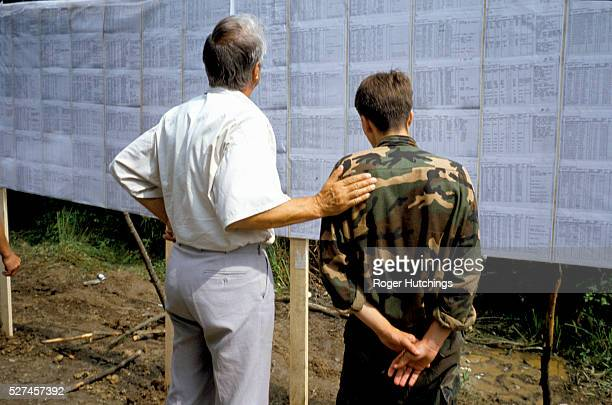 Refugees arriving in Tuzla after escaping from Srebrenica where between 6000 and 7000 of their fellow moslems were murdered by Serbian forces