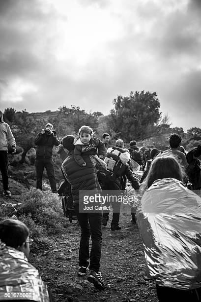 Refugees arriving on Lesbos, Greece