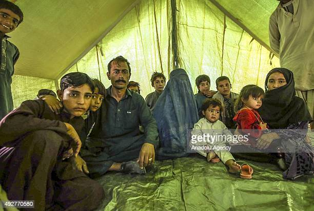 Refugees at a camp on the outskirts of Herat Afghanistan on October 15 2015 after they return to their country from Pakistan after 30 years Afghan...