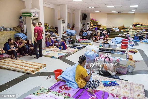 Refugees at the Chaldean diocese on August 2014 in Arbil Iraq Iraqis including Turkmens Shabaks Kurds Yezidis and Christians fleeing from assaults of...