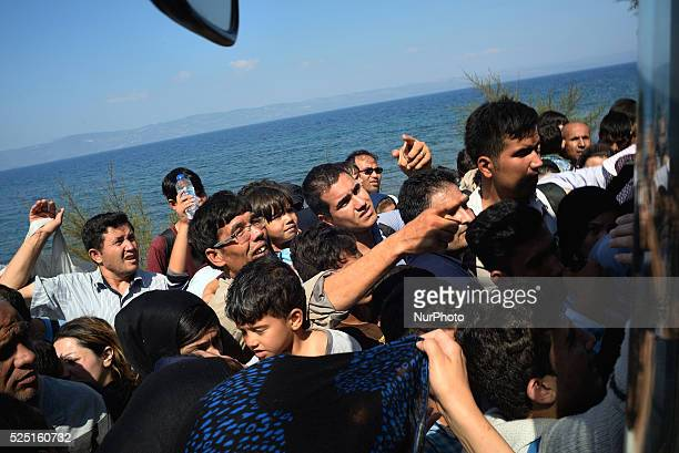 Refugees come from Syria across Turkey come to the Greek island of Lesbos on September 20 2015 Over half a million migrants have crossed the European...
