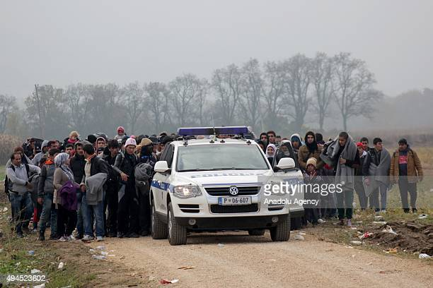 Refugees coming from Croatia follow a police car after arriving in the border town Rigonce Slovenia on October 27 2015 Refugees who begin a journey...
