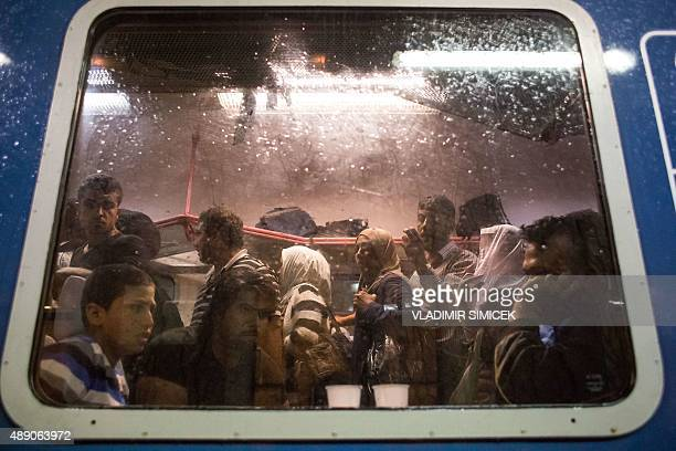 Refugees crowd on a train from Gyor to Hegyeshalom in Hungary on September 19 2015 During the night they were transported from the Croatian border in...