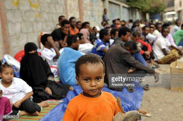 Refugees demand shelter and safety place during their protest in capital Sanaa Yemen on May 1 2014