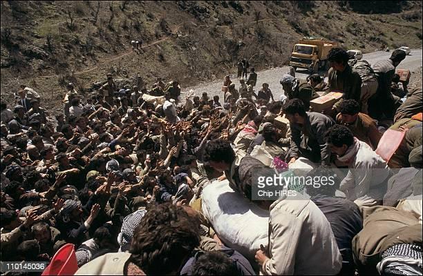 Refugees fighting over food trucks in Isikveren Turkey on April 06 1991