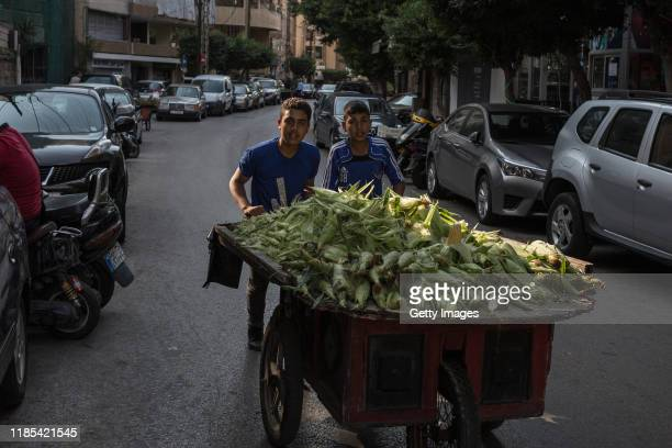 Refugees from Idbild in Syria push a cart of corn through the neighbourhood of Zarif on November 4 2019 in Beirut LebanonCitizens not participating...