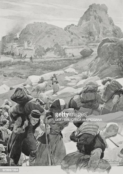 Refugees from Prileso village after it was burnt out by Turkish soldiers near Bitola IlindenPreobrazhenie uprising drawing by Riccardo Salvadori from...