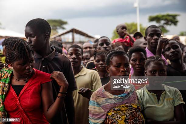 Refugees from the Democratic Republic of Congo wait to be processed at the Kagoma reception centre on April 3 2018 in Kyangwali Uganda More than...