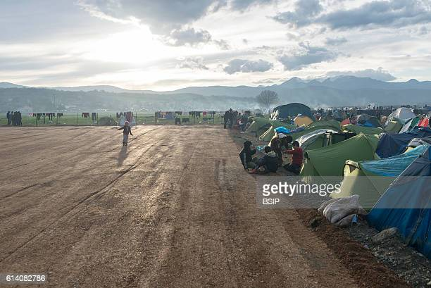 Refugees in a Camp setting immagration Greece