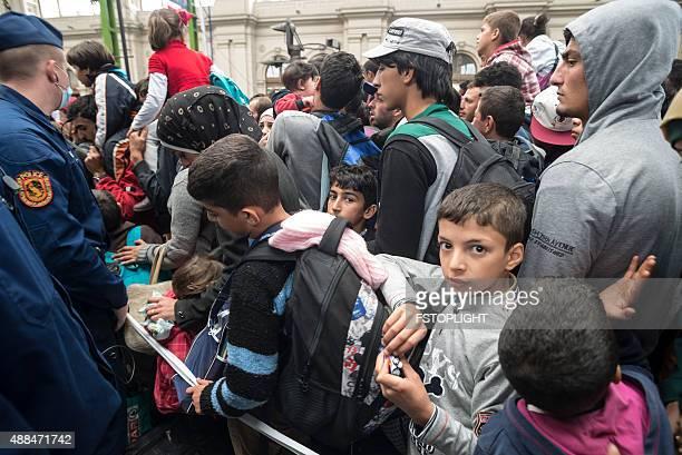 Bahnhof Keleti die Flüchtlinge in Budapest, Ungarn