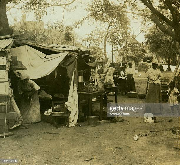 Refugees in temporary shelters at the Parade Grounds in Kingston Jamaica after the earthquake of January 14 1907