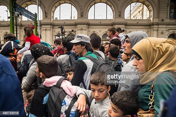 Refugees in train station