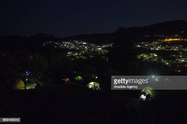 Refugees live in harsh conditions at makeshift camps due to lack of capacity of proper refugee camps in Samos Island of Greece on October 09 2017...