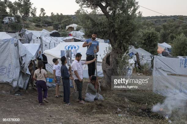 Refugees live under difficult condition outside the Moria Refugee Camp in Lesbos Greece on May 3 2018