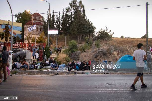 Refugees, Migrants, Asylum Seekers near Kara Tepe camp, on the main road of island that connects also Moria to Mytilene town, on September 10, 2020....
