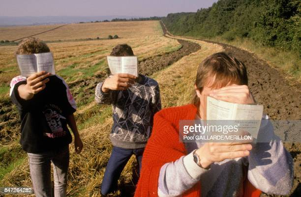 Refugees of East Germany at frontier between Austria and Hungary in September 1989 in Austria