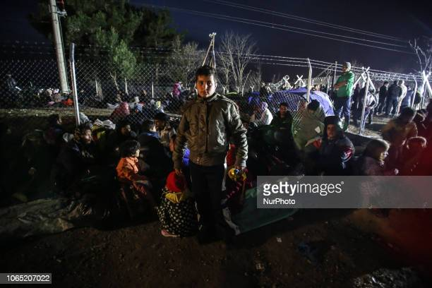Refugees spending the night in the makeshift camp of Idomeni as they are stranded in Greece Idomeni is the passage point between Greece and FYROM...