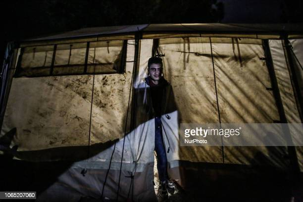 Refugees spending the night in the makeshift camp of Idomeni as they are stranded in Greece. Idomeni is the passage point between Greece and FYROM...
