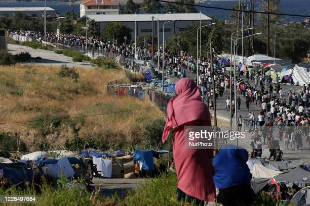Refugees stay homeless after a fire destroyed the Moria refugee camp on the island of Lesbos, Greece on September 13, 2020.