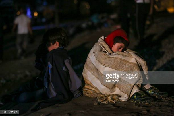 Refugees staying the night in Idomeni, Greece. The borderline between Greece-FYROM . Refugees from Syria, Iraq, Afghanistan and the wider Middle East...