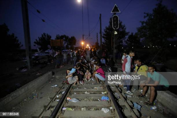 Refugees staying the night in Idomeni Greece The borderline between GreeceFYROM Refugees from Syria Iraq Afghanistan and the wider Middle East area...