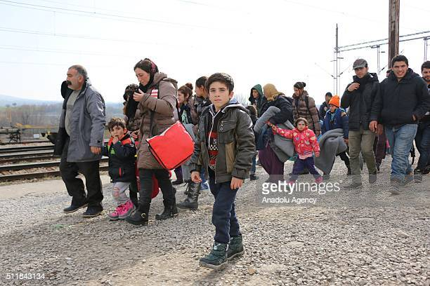 Refugees who are stuck in Macedonia as Serbia does not let them to pass border wait at Macedonia Serbia border in Tabanovce town Macedonia on...