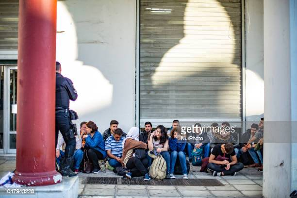 Refuges, most of them Kurds, settled up a makeshift spot for sleeping in Aristotelous square in Thessaloniki city downtown, as they are waiting...