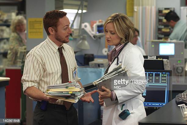 ER 'Refusal of Care' Episode 18 Air Date Pictured Scott Grimes as Doctor Archie Morris Sherry Stringfield as Doctor Susan Lewis Photo by Mike...