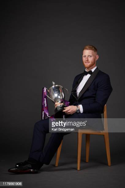 Reg Hayter Cup for the NatWest PCA Players' Player of the Year Ben Stokes poses during the 50th NatWest PCA Awards at The Roundhouse on October 2...