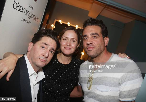 Reg Rogers Rose Byrne and Bobby Cannavale pose backstage at the hit comedy 'Present Laughter' on Broadway at The St James Theatre on June 25 2017 in...