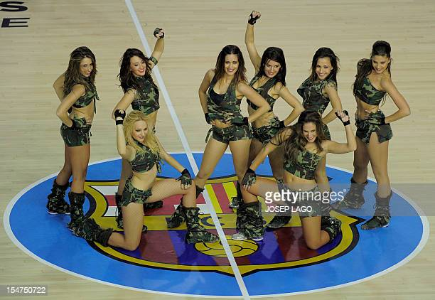 Regal Barcelona's cheerleaders perform during the Euroleague basketball match FC Barcelona Regal vs Besiktas JK Istanbul on October 25 2012 at the...