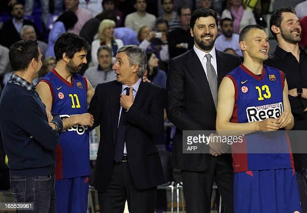 Regal Barcelona's guard Juan Carlos Navarro Serbian Coach Svetislav Pesic Serbian Dejan Bodiroga and Regal Barcelona's Lithuanian guard Sarunas...