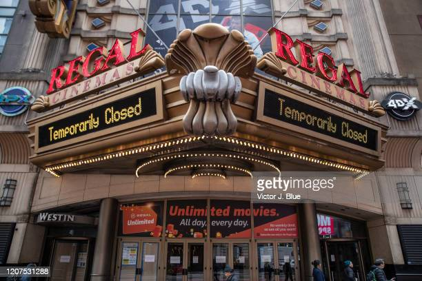 Regal Cinemas remains closed on March 17 2020 in New York City Schools businesses and most places where people congregate across the country have...