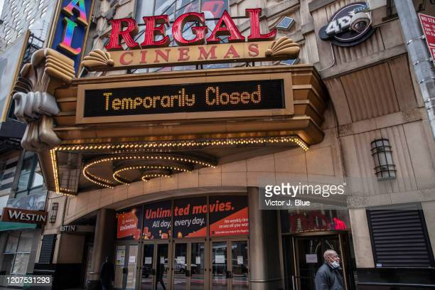 Regal Cinemas remains closed on March 17, 2020 in New York City. Schools, businesses and most places where people congregate across the country have...
