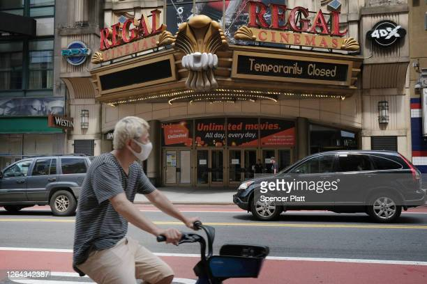 Regal Cinemas stands closed along New York City's iconic 42nd Street on August 06, 2020 in New York City. Despite New York's success in bringing down...