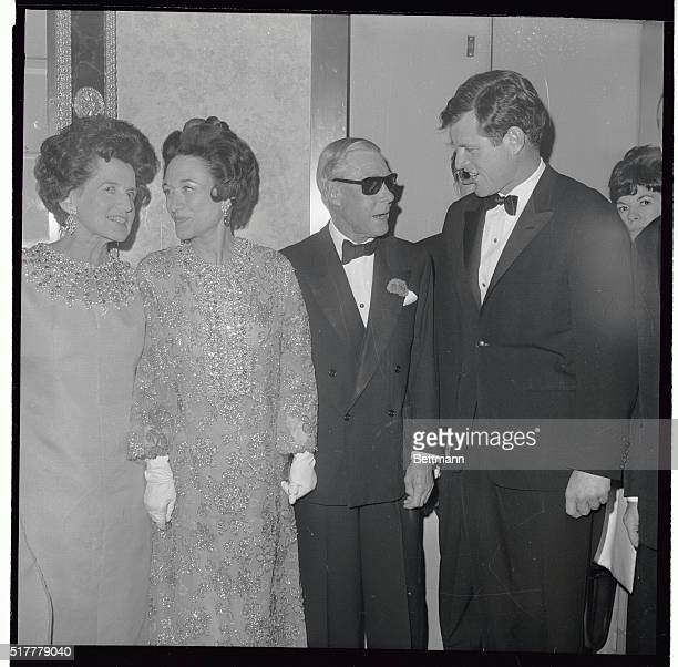 Regal ladies of the world enjoy a chat with Mrs. Joseph P. Kennedy and the Duchess of Windsor get together at a party which followed the film...