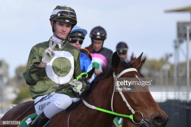 Regan Bayliss returns to the mounting yard on Surprise Hero after winning the Sargeants Conveyancing Geelong Maiden Plate at Geelong Synthetic...