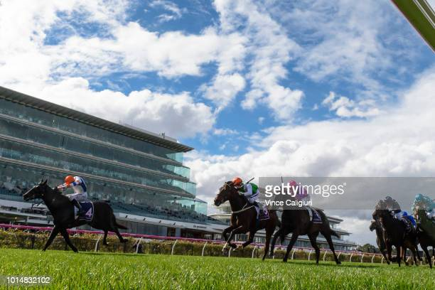Regan Bayliss riding Crockett winning Race 3 during Melbourne Racing at Flemington Racecourse on August 11 2018 in Melbourne Australia