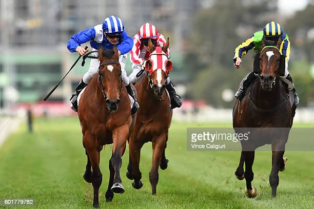 Regan Bayliss riding Faatinah defeats Patrick Moloney riding Tivaci in RAce 6 Bobbie Lewis Quality during Melbourne Racing at Flemington Racecourse...