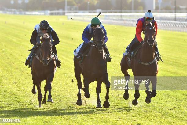 Regan Bayliss riding Harlem Kerrin McEvoy riding Eshtiraak and Freddie Lenclud riding Justice Faith during a trackwork session at Flemington...